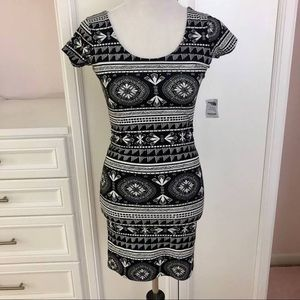Black and White Tribal Mini Dress